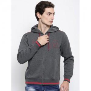 FILA Men Grey Solid Hooded Sweatshirt
