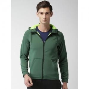 Nike Men Olive Green Solid Hooded Sweatshirt