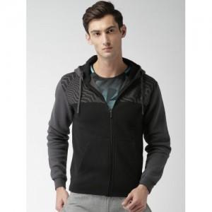 Nike Men Black Printed Hooded Sweatshirt