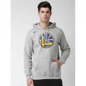 Nike Men Grey Melange Printed Hooded Sweatshirt