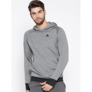 Adidas Men Grey Melange Winter Off Solid Hooded Sweatshirt