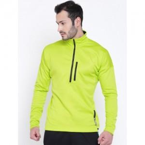 Adidas Terrex Men Fluorescent Green TIVID 1/2 Fleece Solid Sweatshirt