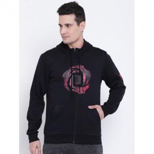 Adidas Men Black Rose Shooter Printed Hooded Sweatshirt