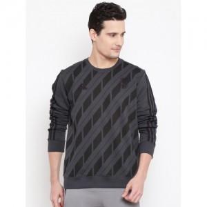 Adidas Men Charcoal Grey & Black Real SSP CW Printed Sweatshirt