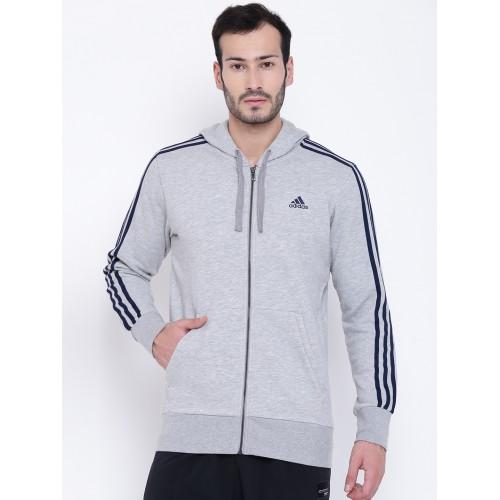 the best attitude c5d89 ed657 ... Adidas Men Grey Melange ESS 3S FZ FT Solid Hooded Sweatshirt ...
