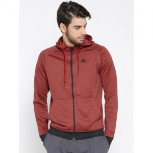 Adidas Men Red Winter Off Solid Hooded Sweatshirt