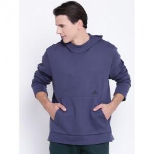 Adidas Men Blue ID Champ Hooded Sweatshirt