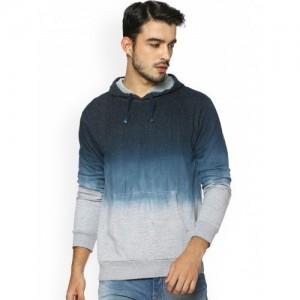 Campus Sutra Men Blue Dyed Hooded Sweatshirt