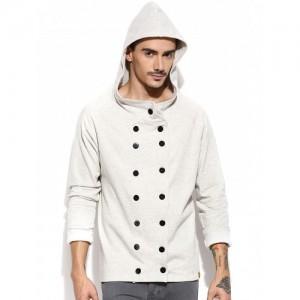 Campus Sutra Grey Hooded Sweatshirt