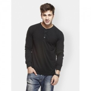 Gritstones Black Solid Henley T-Shirt