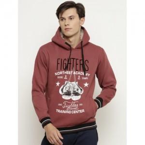 Duke Men Rust Red Printed Hooded Sweatshirt