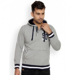 Duke Men Grey Melange Solid Hooded Sweatshirt