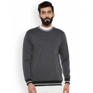Duke Men Charcoal Grey Self-Design Sweatshirt