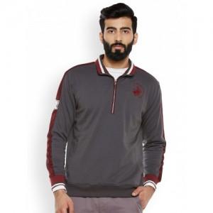 Duke Men Grey & Maroon Solid Sweatshirt