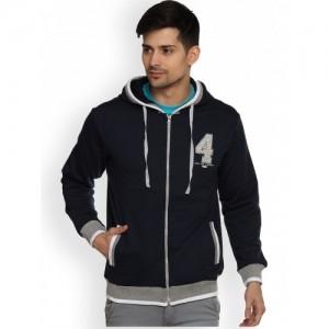 Duke Men Black Solid Hooded Sweatshirt