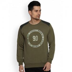Duke Men Olive Green Printed Sweatshirt