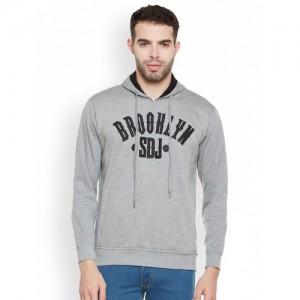 Duke Men Grey Melange Printed Hooded Sweatshirt