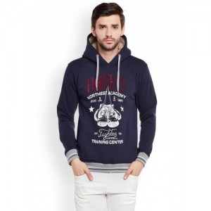 Duke Men Navy Printed Hooded Sweatshirt