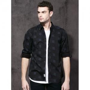 Roadster Black & Blue Regular Fit Printed Casual Shirt