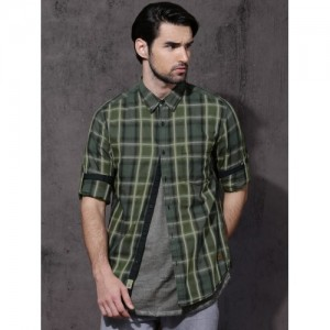 Roadster Green Slim Fit Checked Casual Shirt