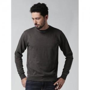 Blue Saint Men Grey Solid Sweatshirt