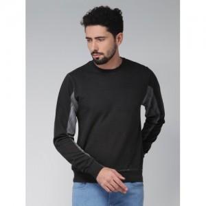 Blue Saint Men Black & Grey Colourblocked Sweatshirt