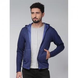 Blue Saint Men Blue Solid Hooded Sweatshirt