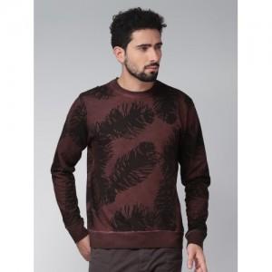 Blue Saint Men Brown & Black Printed Sweatshirt