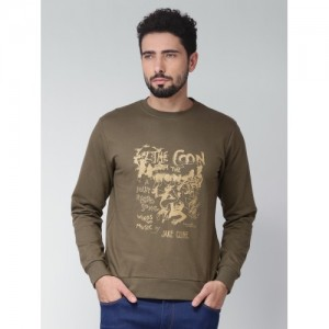 Blue Saint Men Olive Green Printed Sweatshirt
