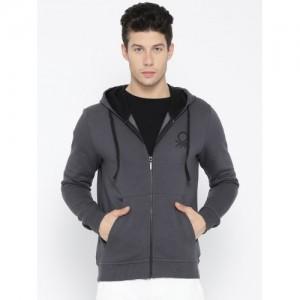 United Colors of Benetton Men Grey Solid Hooded Sweatshirt