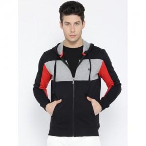United Colors of Benetton Men Black & Grey Melange Colourblocked Hooded Sweatshirt