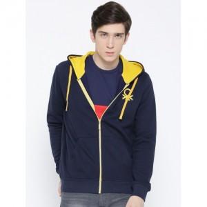 United Colors of Benetton Men Navy Blue Solid Hooded Sweatshirt