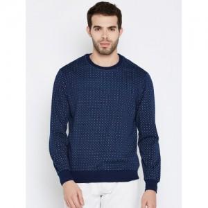 John Players Men Navy Blue Printed Sweatshirt