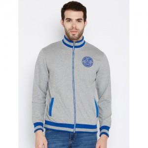 John Players Men Grey Melange Solid Sweatshirt