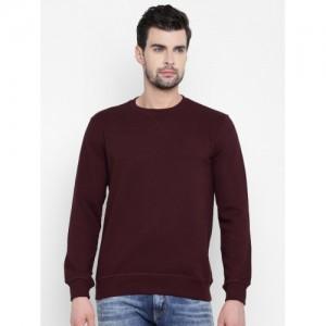 John Players Men Burgundy Solid Sweatshirt
