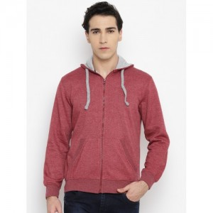 John Players Men Maroon Solid Hooded Sweatshirt