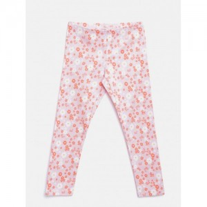 United Colors of Benetton Girls Pink Floral Print Ankle-Length Leggings