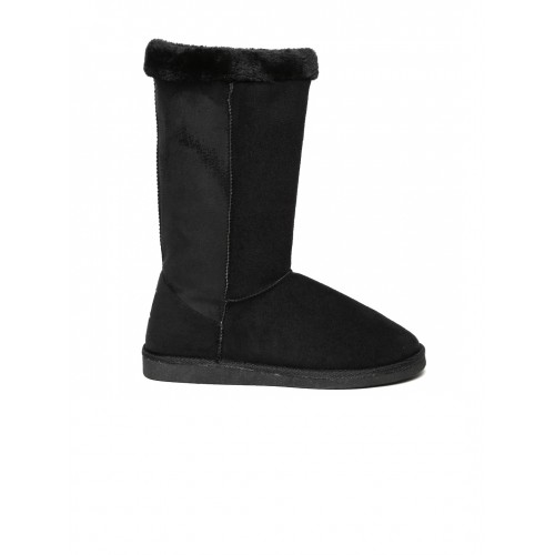 Carlton London Black Solid Suede High-Top Flat Boots cheap best store to get 2015 cheap online discount for nice best sale for sale hX0bpPYbS
