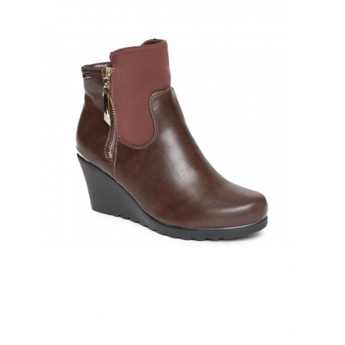Carlton London Brown Synthetic Solid Heeled Boots