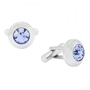 The Jewelbox Round Blue Rhodium Plated Brass Cufflink Pair