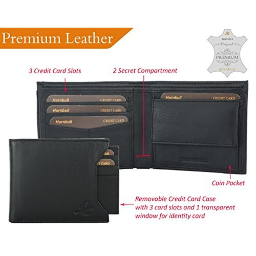 HORNBULL Black Genuine Leather Solid Wallet