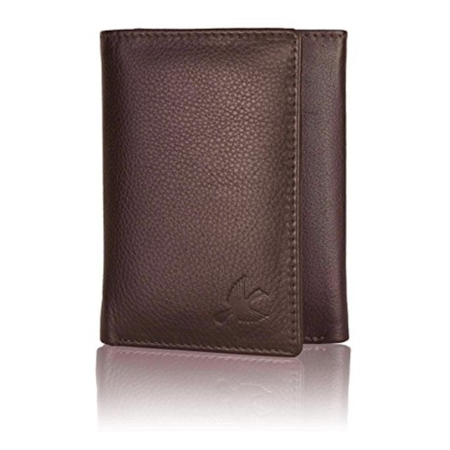 Hornbull Brown Tri-Fold Genuine Leather Wallet