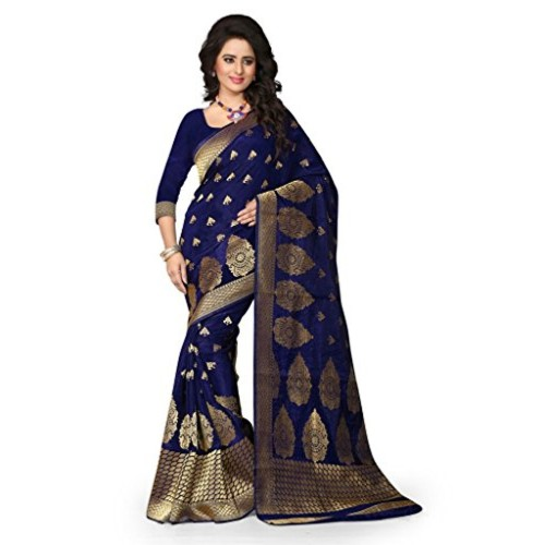 Shree Sanskruti Women's Tussar Silk Saree With Blouse Piece (Sharma Nevy Blue 715_Navy Blue)
