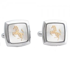 the jewelbox square silver with gold horse cufflink