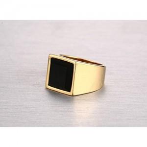 e9742572e Asma 18k Gold Plated Onyx Stainless Steel Black Square Agate Ring for Men