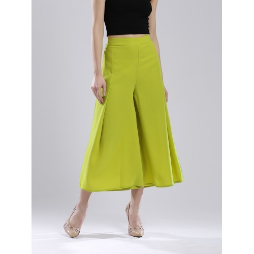 W Women Lime Green Solid Cropped Palazzo Trousers