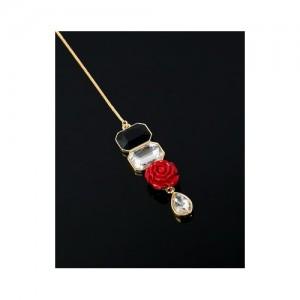 Voylla Rouge Rose And Gems Trendy Maang Teeka