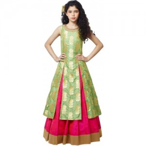 Womaniya Impex Girl's Lehenga Choli Fusion Wear, Ethnic Wear Embellished, Embroidered Lehenga Choli