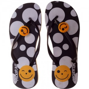 Mixstar Black Rubber Slip-on Flat Slippers