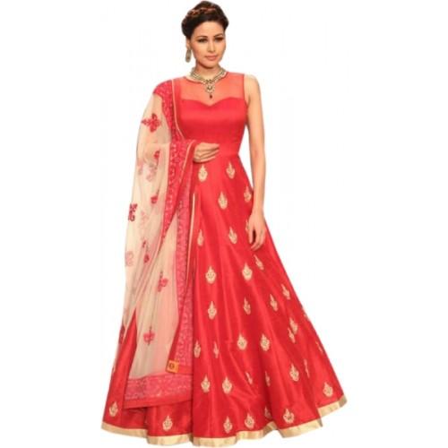 Sanjana Red-White Banglori Anarkali Style Gowan Dress Material
